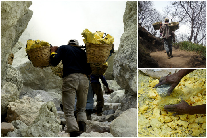 Ijen miners working