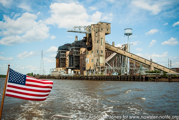 USA: New Jersey, Lower Raritan River as seen from NY/NJ Baykeeper boat, former JCP&L coal-fired power plant (closed in 1970), now a conversion plant under Reliant with 4 power combustion engines
