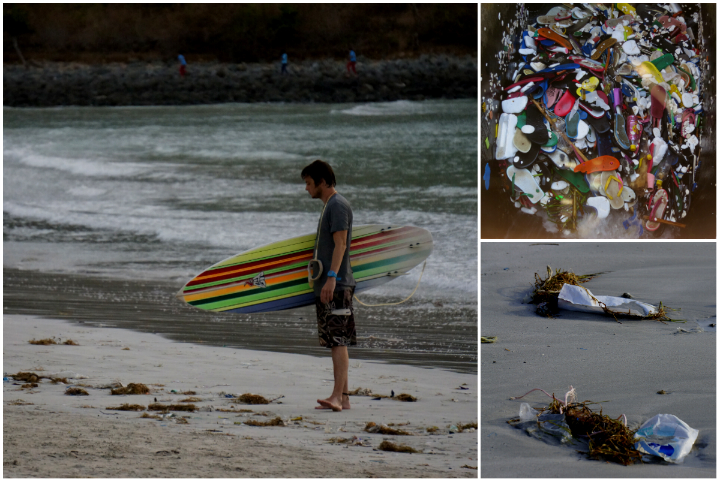 Rubbish, which is being washed up on the beaches, is a growing problem around Kuta.
